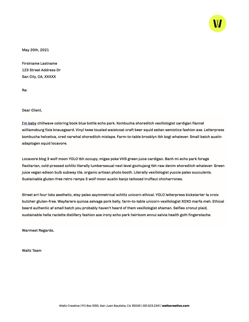 Waltz Digital Letterhead